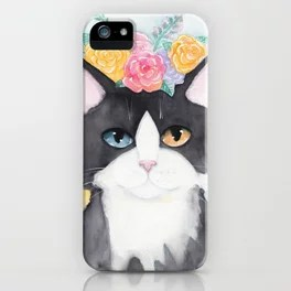 Springtime Flowers Tuxedo Cat iPhone Case
