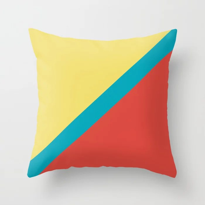 Blue-Green Yellow Red Diagonal Stripe Pattern V6 2021 Color of the Year AI Aqua 098-59-30 Throw Pillow