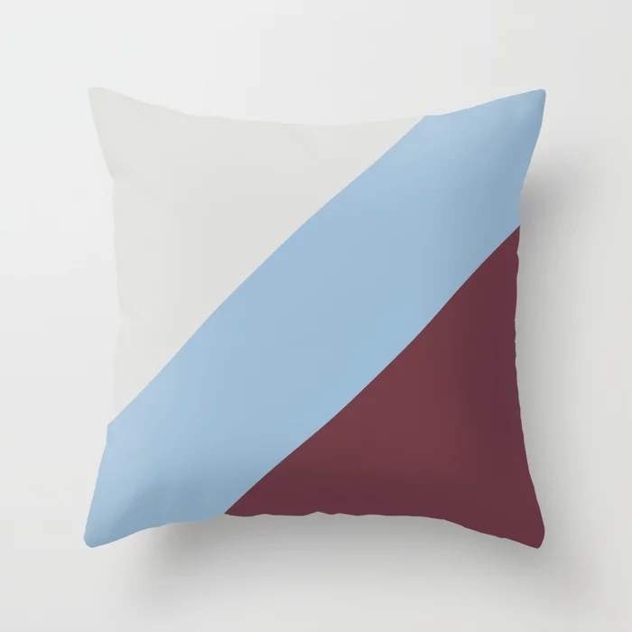 Pastel Blue Grey Burgundy Diagonal Stripe Pattern Throw Pillows inspired by and pairs to (matches / coordinates with) Dutch Boy 2021 Color of the Year Earth's Harmony and Accents