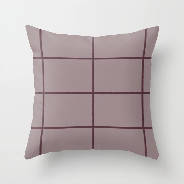 Deep Purple Pink-Purple Criss Cross Stripe Pattern 2021 Color of the Year Epoch Spiced Mulberry Throw Pillow