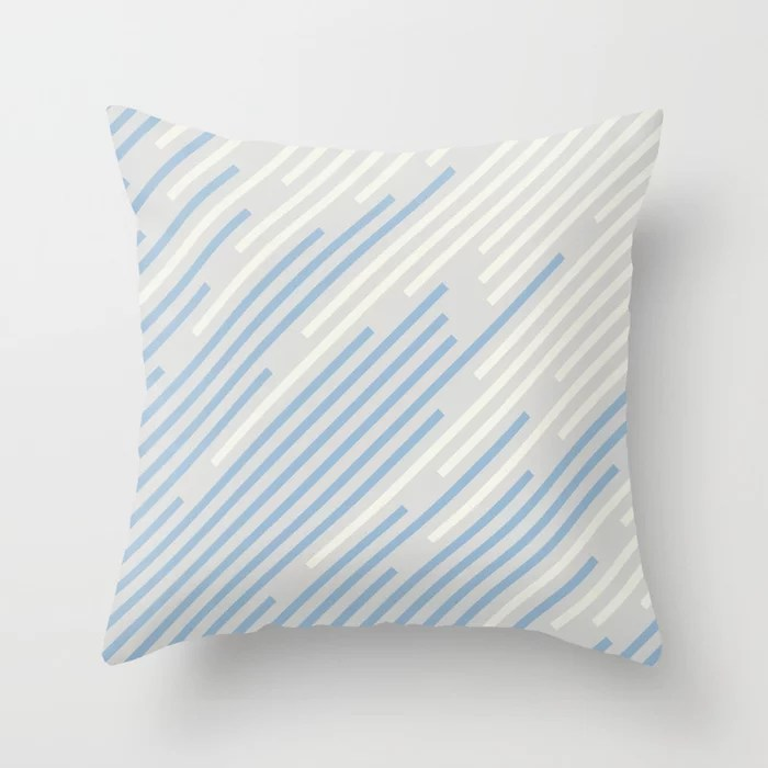 Pastel Blue Off White Grey Off-set Stripe Pattern Throw Pillows inspired by and pairs to (matches / coordinates with) Dutch Boy 2021 Color of the Year Earth's Harmony and Accents