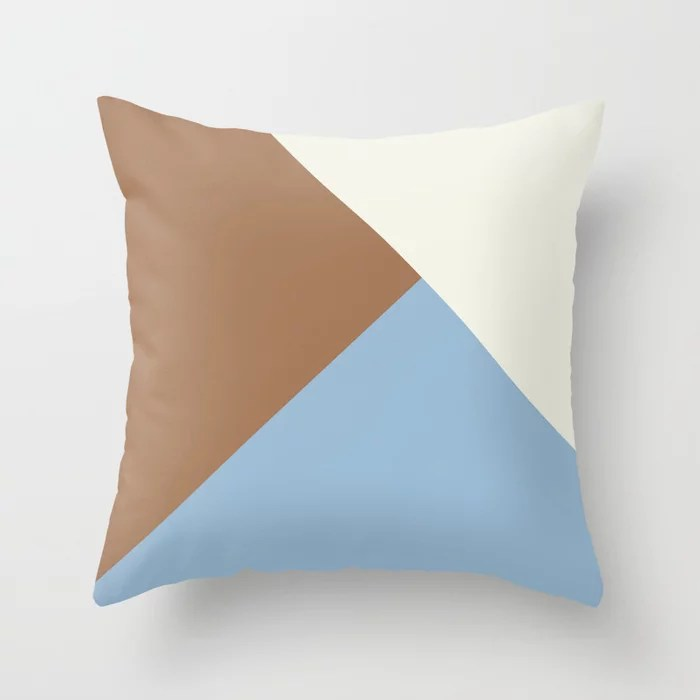 Pastel Blue Off White Brown Solid Color Shapes Throw Pillows inspired by and pairs to (matches / coordinates with) Dutch Boy 2021 Color of the Year Earth's Harmony & Accent Hues