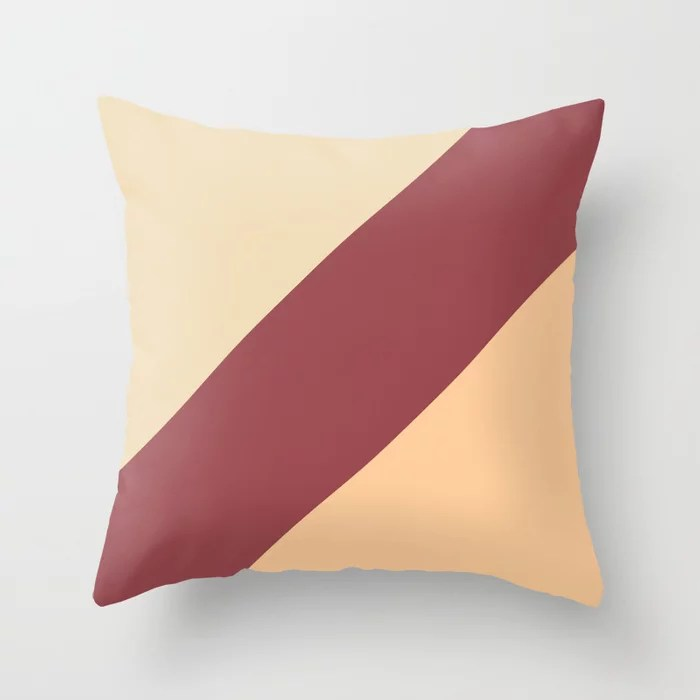Red Peach Light Beige Abstract Line Pattern Pairs HGTV 2021 Color of the Year Passionate Throw Pillow