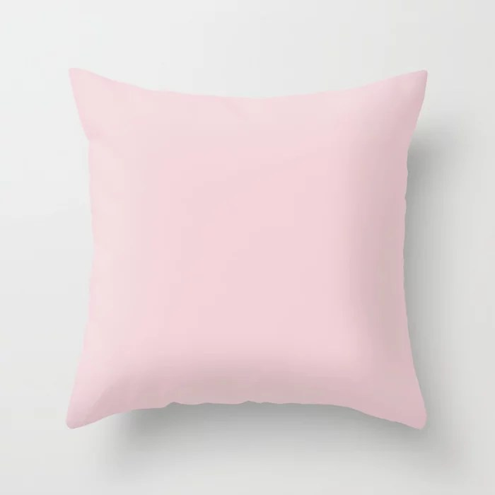 Pale Pastel Carnation Pink Solid Color Pairs To Sherwin Williams Impatiens Petal SW 6582 Throw Pillow