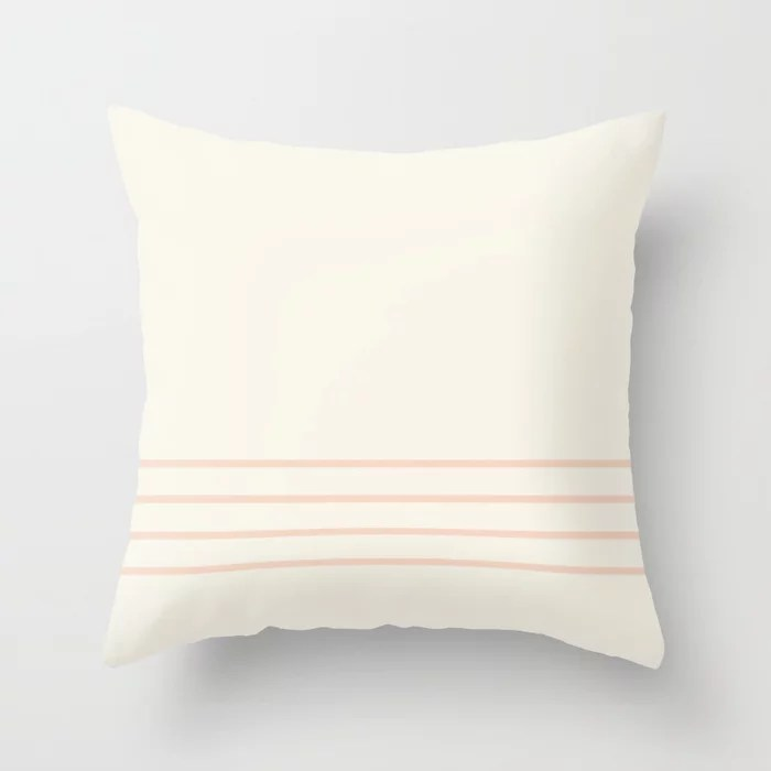 Peach Off-white Thin Horizontal 4 Stripe Pattern 2021 Color of the Year Accent Shades Throw Pillow