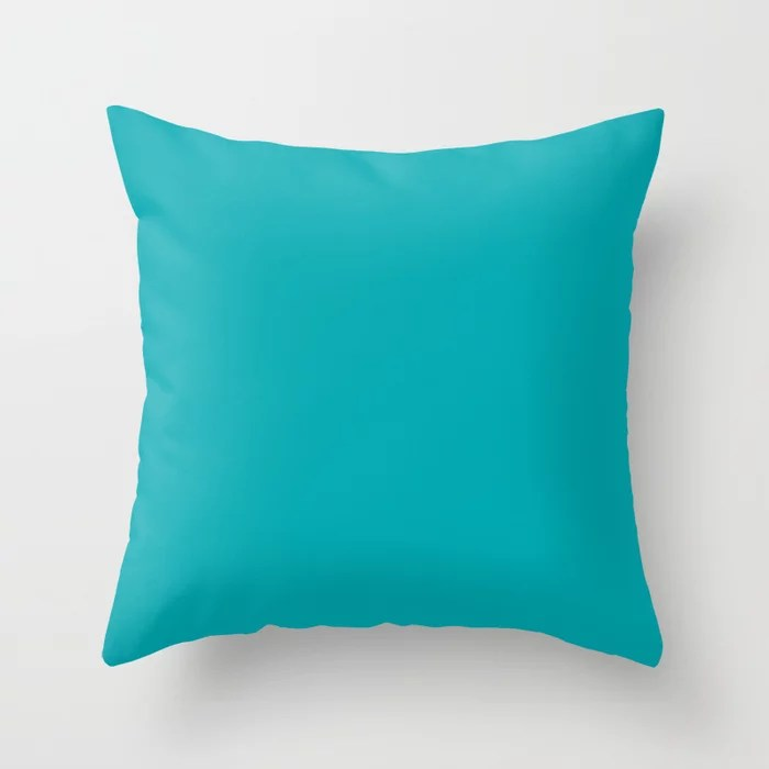 Sea Blue Green Solid Color Pairs Rustoleum 2021 Color Of The Year Accent Shade Vintage Teal Throw Pillow