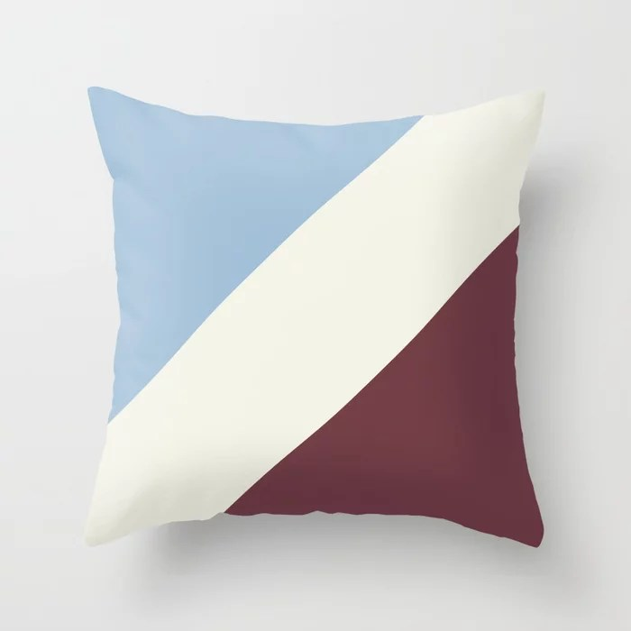 Pastel Blue Off White Burgundy Stripe Pattern Throw Pillows inspired by and pairs to (matches / coordinates with) Dutch Boy 2021 Color of the Year Earth's Harmony & Accent Hues