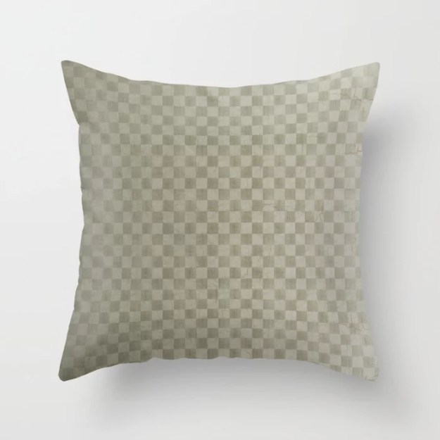 Olive Green Gingham Throw Pillow by Melissa Fague