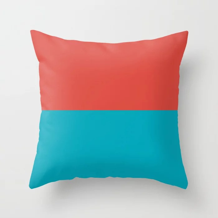 Aqua Blue and Red Horizontal Stripe Line Pattern 2021 Color of the Year AI Aqua and Oxy Fire Throw Pillow