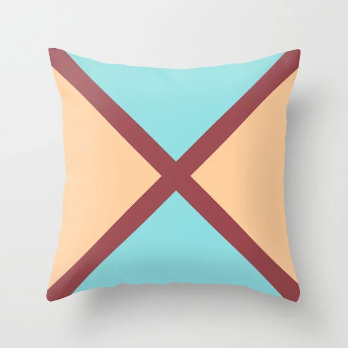 Red Peach Pastel Blue Minimal Line Pattern Pairs HGTV 2021 Color of the Year Passionate Throw Pillow