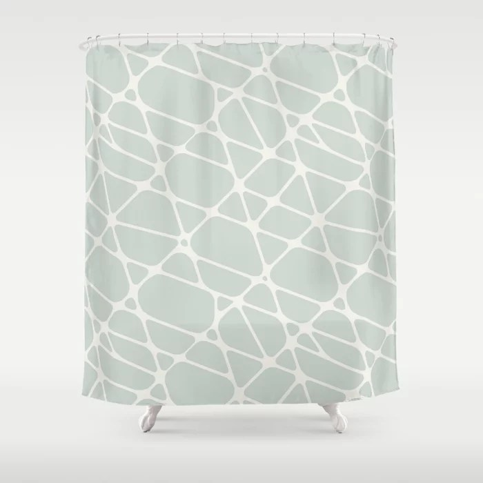 Pastel Green and Cream Abstract Mosaic Pattern 2 Pairs Behr 2022 Color of the Year Breezeway MQ3-21 Shower Curtain. 2022 color trend