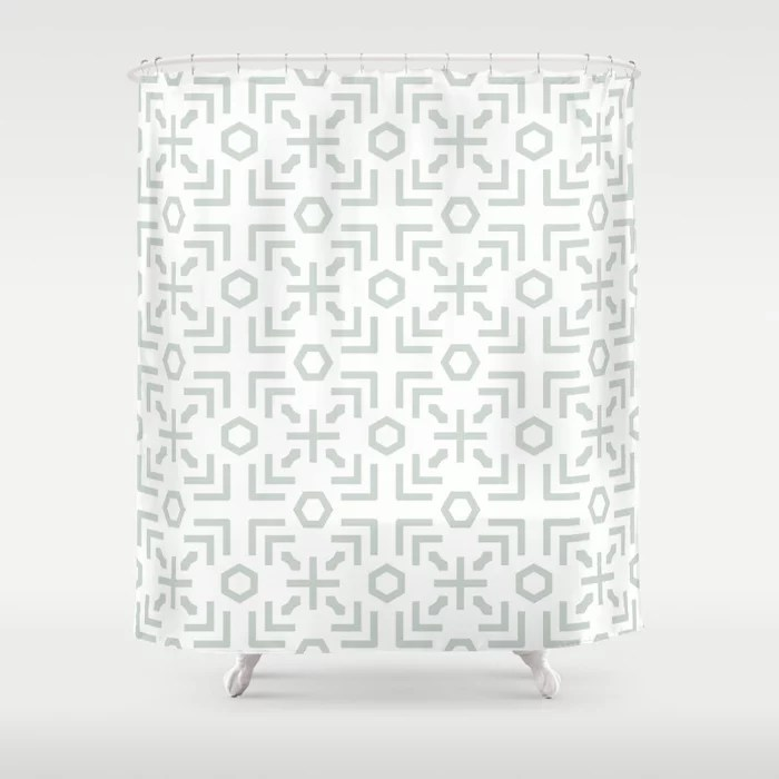 Pastel Green and White Art Deco Abstract Pattern Pairs Behr 2022 Color of the Year Breezeway MQ3-21 Shower Curtain. 2022 color trend