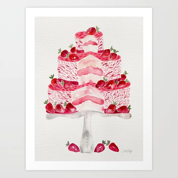 Sunday's Society6 | Pink strawberry cake art print