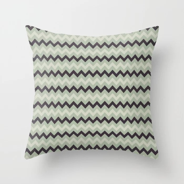 Purple Beige Green Chevron Pattern Accent Shades to 2021 Color of the Year Aegean Teal Throw Pillow