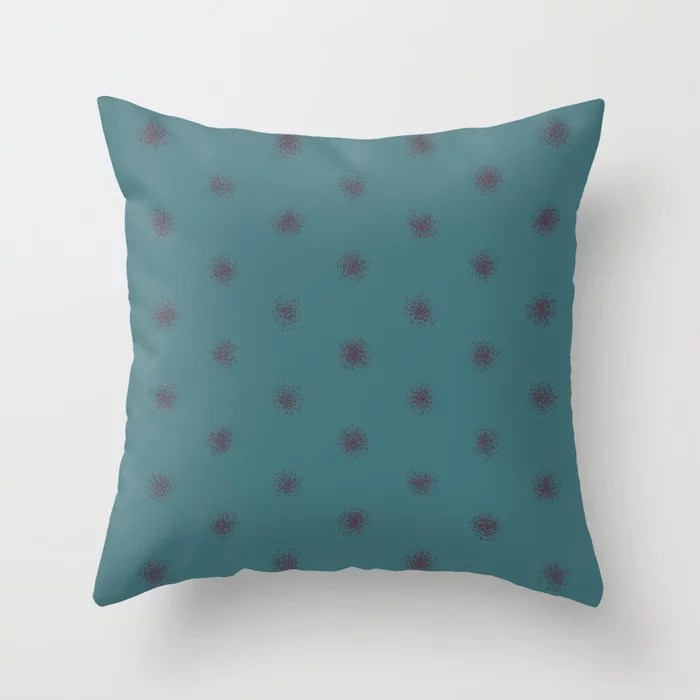 Deep Purple Aqua Splatter Polka Dot Pattern Pairs 2021 Color of the Year Epoch and Whale Tail Throw Pillow