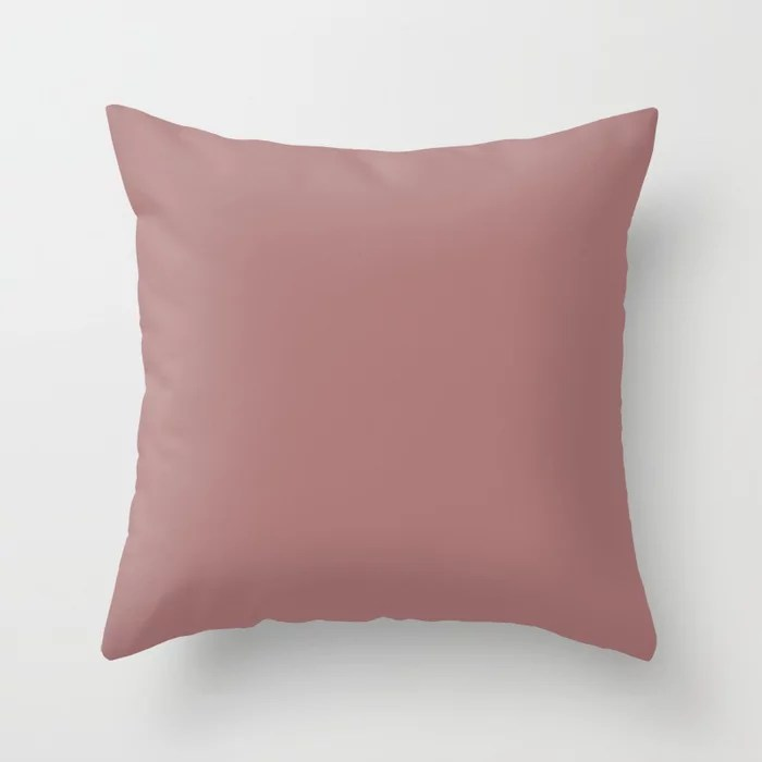 Medium Pink Solid Color Accent Shade Matches Sherwin Williams Salon Rose SW 0061 Throw Pillow