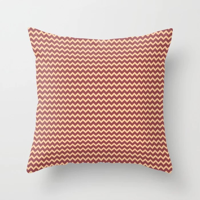 Red and Peach Chevron Zigzag Line Pattern 2021 Color of the Year Passionate and Pale Apricot Throw Pillow