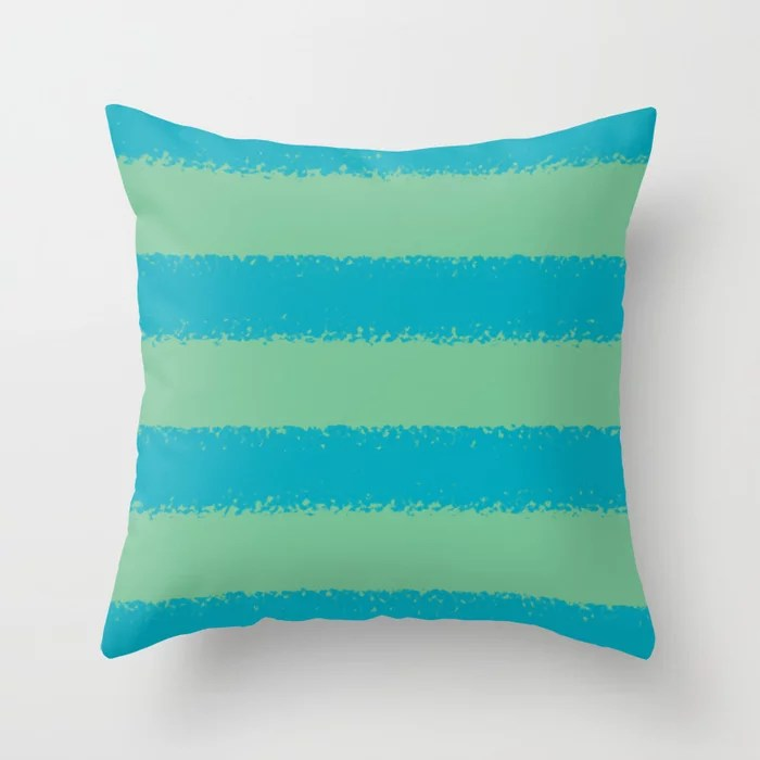 Blue-green Green Minimal Sponge Stripe Pattern 2021 Color of the Year AI Aqua 098-59-30 Throw Pillow