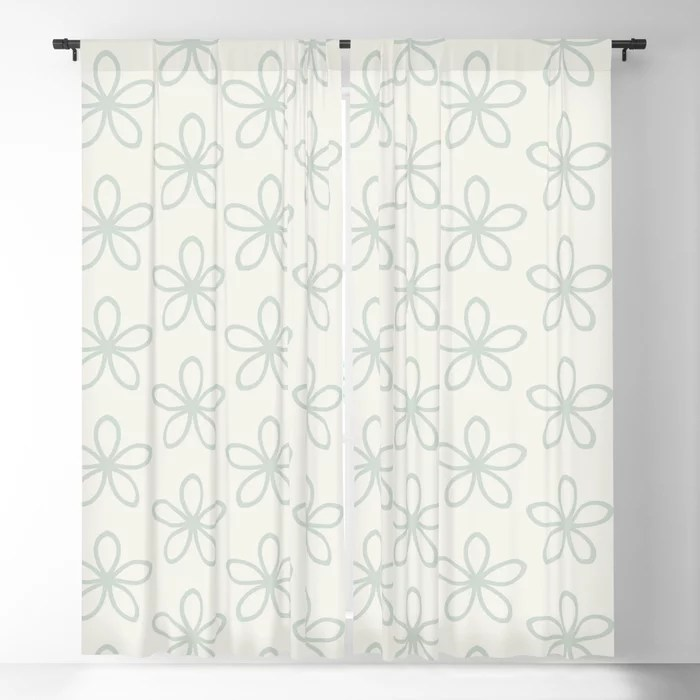 Pastel Green and Cream Minimal Flower Pattern Pairs Behr 2022 Color of the Year Breezeway MQ3-21 Blackout Curtain. Decorating colors for 2022