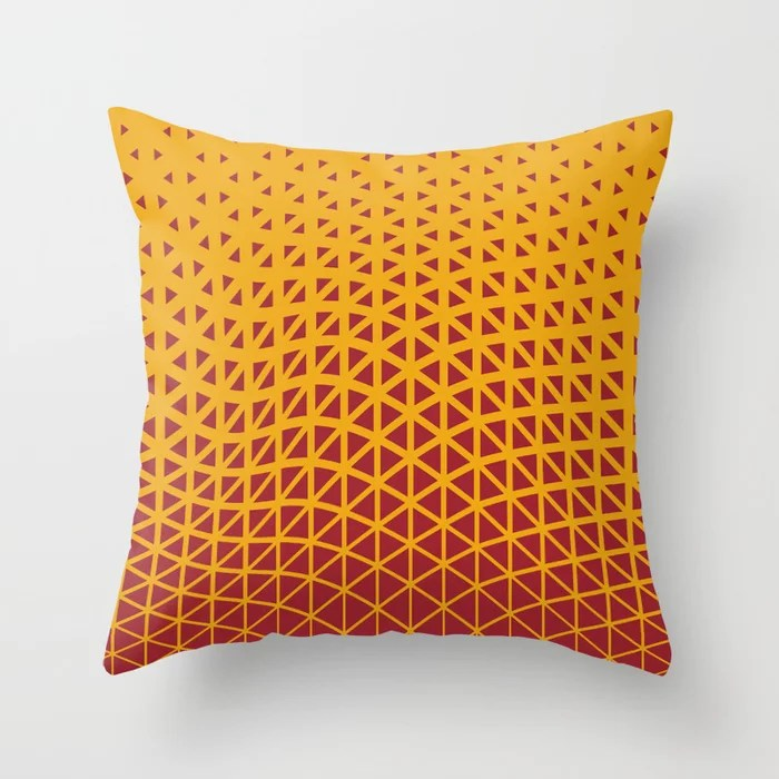 Red and Orange Geometric Wave Pattern 2021 Color of the Year Satin Paprika and Satin Harvest Peach Throw Pillow