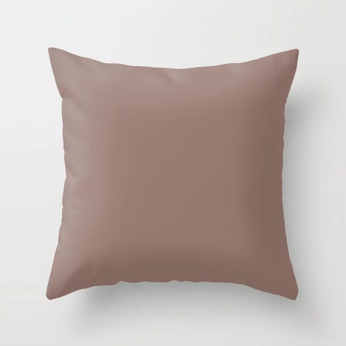 Dark Mauve Pink Solid Color Accent Shade / Hue Matches Sherwin Williams Mulberry Silk SW 0001 Throw Pillow