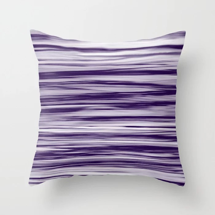 Purple Soft Focus Motion Watercolor Blend Stripes Rustoleum Throw Pillow
