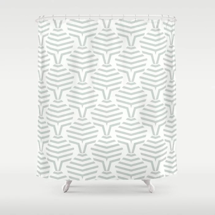 Pastel Green and White Stripe Shape Pattern Pairs Behr 2022 Color of the Year Breezeway MQ3-21 Shower Curtain. 2022 color trend