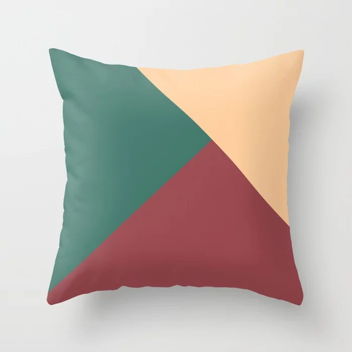 Red Dark Green Peach Solid Color Abstract Design Pairs HGTV 2021 Color of the Year Passionate Throw Pillow