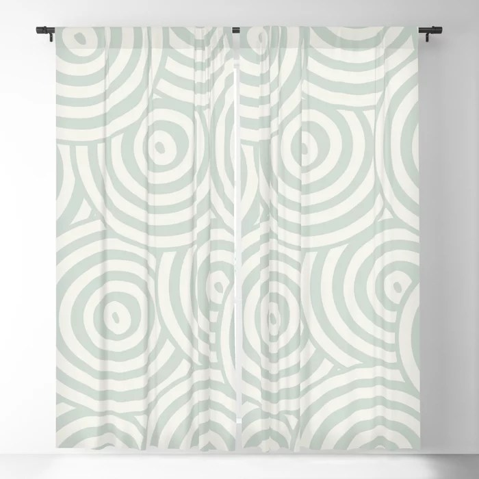 Pastel Green and Cream Hypnotic Circle Pattern Pairs Behr 2022 Color of the Year Breezeway MQ3-21 Blackout Curtain. Decorating colors for 2022