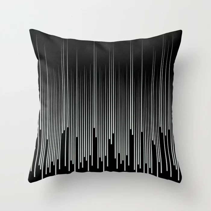 Pastel Green and Black Stripes Line Art Pattern Pairs Behr 2022 Color of the Year Breezeway MQ3-21 Throw Pillow. 2022 color scheme, trending interior design hue.