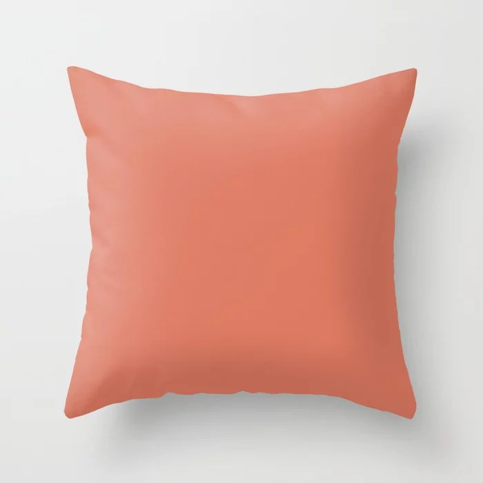 Medium Coral Pink Solid Color Accent Shade Matches Sherwin Williams Rejuvenate SW 6620 Throw Pillow