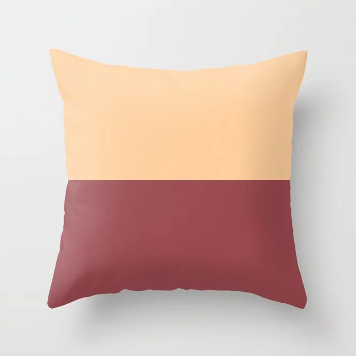 Red and Peach Minimal Solid Color Line Pattern 2021 Color of the Year Passionate and Pale Apricot Throw Pillow