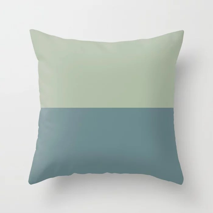 Blue-Green Minimal Horizon Stripe Pattern 2021 Color of the Year Aegean Teal and Salisbury Green Throw Pillow
