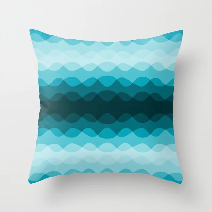 Aqua Blue Overlapping Wavy Line Pattern 2021 Color of the Year AI Aqua 098-59-30 Throw Pillow