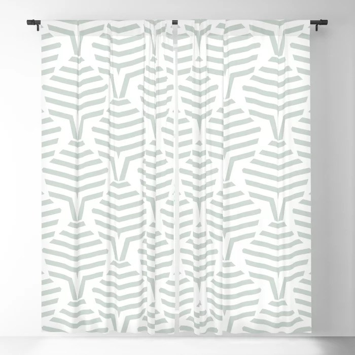 Pastel Green and White Stripe Shape Pattern Pairs Behr 2022 Color of the Year Breezeway MQ3-21 Blackout Curtain. Decorating colors for 2022
