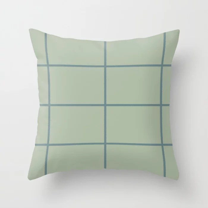 Muted Aqua and Green Thin Check Pattern 2021 Color of the Year Aegean Teal & Salisbury Green Throw Pillow