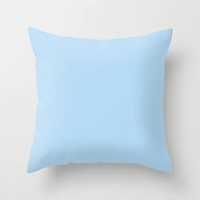 Pastel Sky Blue Solid Color Pairs to 2021 Color of the Year Wild Blue Yonder by Dunn and Edwards Throw Pillow