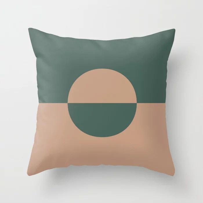 Sand Storm Beige Dark Green Circle Design 2 Behr 2021 Color of the Year Canyon Dusk Equilibrium Throw Pillow