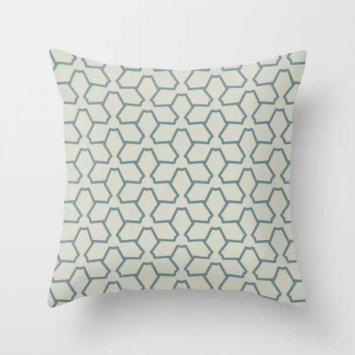 Blue-Green Beige Line Pattern 12 Abstract Flower 2 2021 Color of the Year Aegean Teal Sweet Spring Throw Pillow