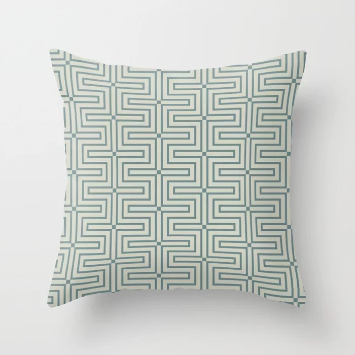 Blue-Green Beige Line Art Pattern 3 V3 2021 Color of the Year Aegean Teal and Sweet Spring Throw Pillow