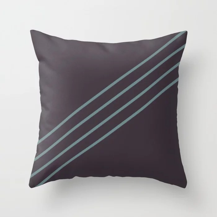 Muted Aqua and Purple Line Pattern 2021 Color of the Year Aegean Teal and Tulsa Twilight Throw Pillow