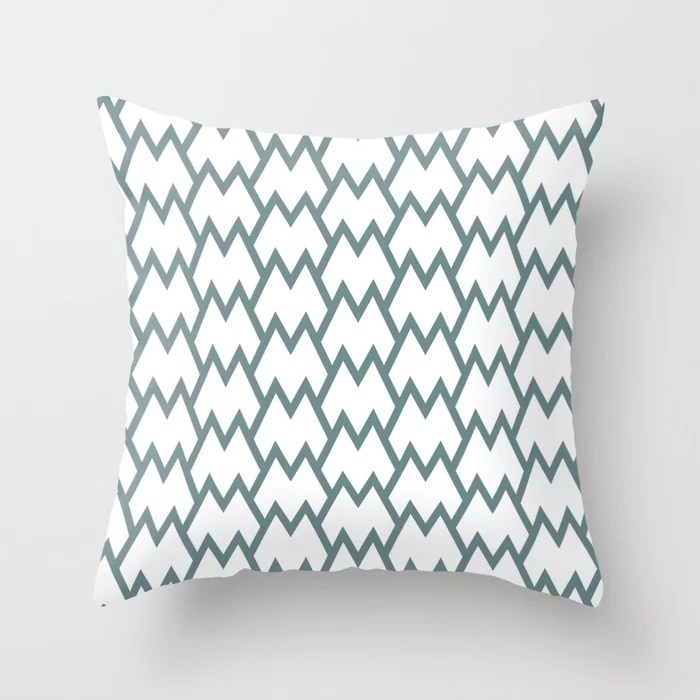 Soft Aqua Blue White Tessellation Line Pattern 18 2021 Color of the Year Aegean Teal Throw Pillow
