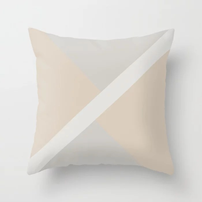 Light Beige White Gray Stripe Offset Shape Design: Hues were inspired by and match (pair / coordinate with) 2021 Color of the Year Uptown Ecru & Accent Shade Throw Pillow