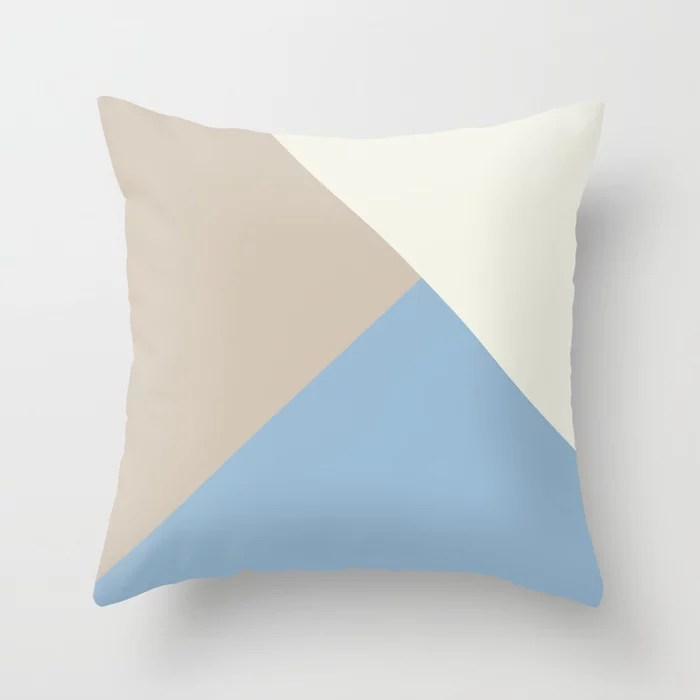 Pastel Blue Off White Beige Solid Color Shapes Throw Pillows inspired by and pairs to (matches / coordinates with) Dutch Boy 2021 Color of the Year Earth's Harmony & Accent Hues