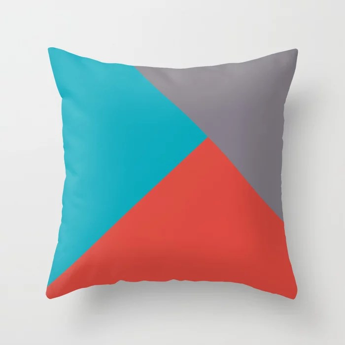 Blue-Green Red Gray Abstract Pattern 2021 Color of the Year AI Aqua 098-59-30 Throw Pillow