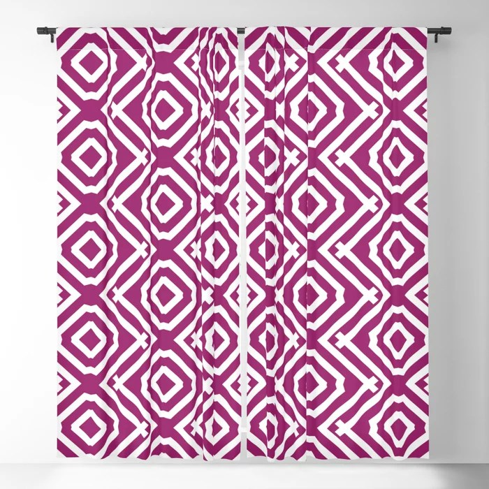 Magenta and White Vertical Stripe Diamond Pattern - Colour of the Year 2022 Orchid Flower 150-38-31 Blackout Curtain - 2022 color trends interior design