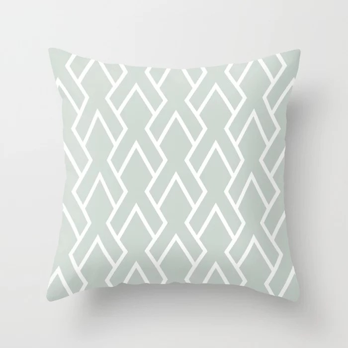 Mint Green and White Tessellation Line Pattern 6 Behr 2022 Color of the Year Breezeway MQ3-21 Throw Pillow. 2022 color scheme, trending interior design hue.