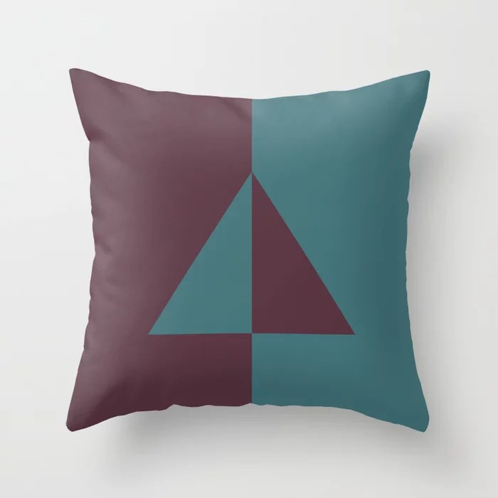 Deep Purple Aqua Minimal Triangle Design Throw Pillows inspired by and pairs to (matches / coordinates with) Graham and Brown 2021 Color of the Year Epoch and Whale Tail