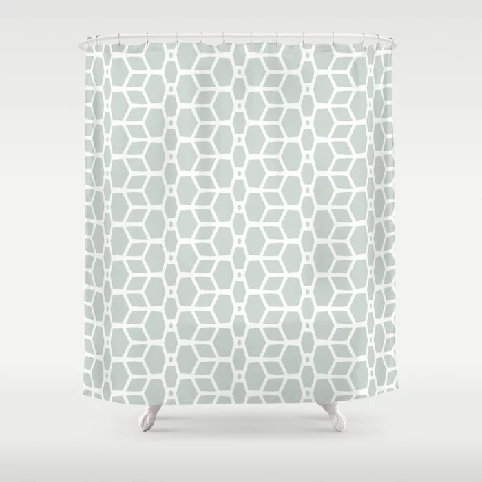 Mint Green and White Tessellation Line Pattern 4 Behr 2022 Color of the Year Breezeway MQ3-21 Shower Curtain. 2022 color trend