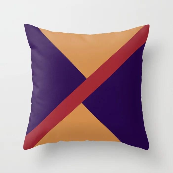 Orange Red Purple Diagonal Stripe Offset Pattern Rustoleum 2021 Color of the Year Satin Paprika Throw Pillow